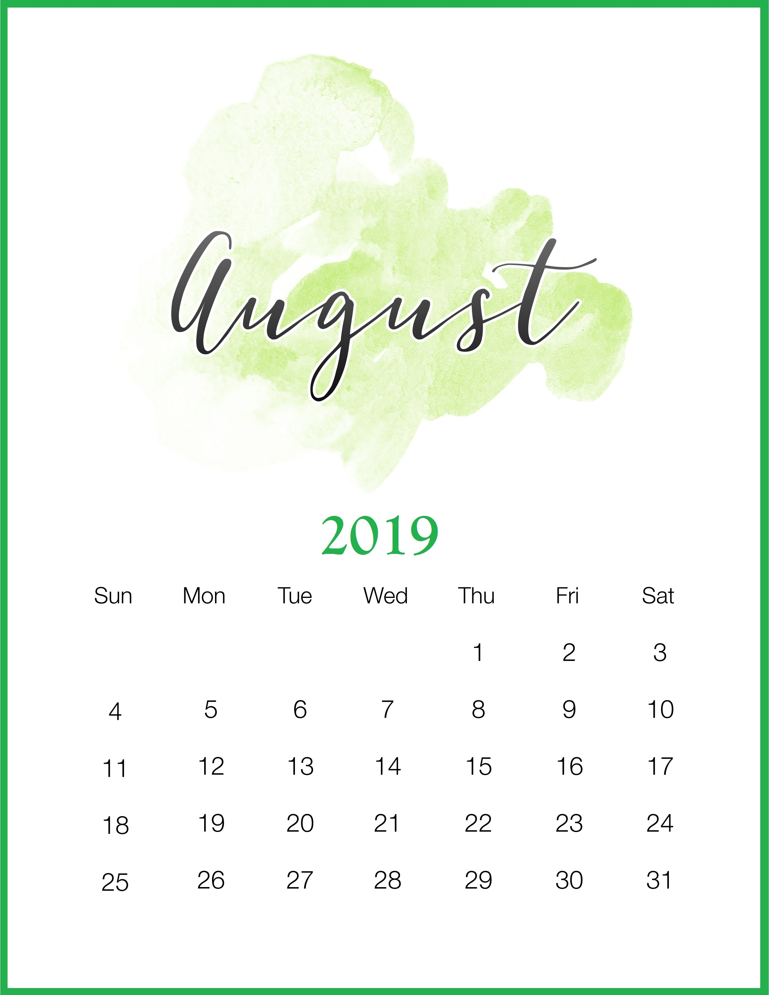 August 2019 Calendar Printable Template - Pdf, Word, Excel with Cute August Monthly Calendar Template Printable