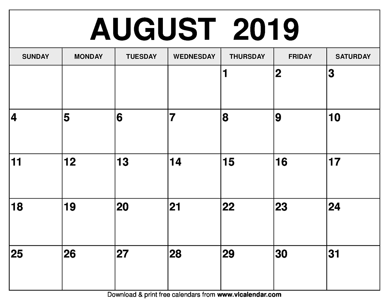 August 2019 Calendar Printable Templates within Blank Calendars For August