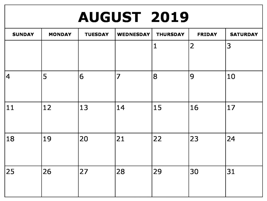 August 2019 Calendar #printables #cute   August 2019 Calendar For throughout Printable Monthly Calendar Templates August