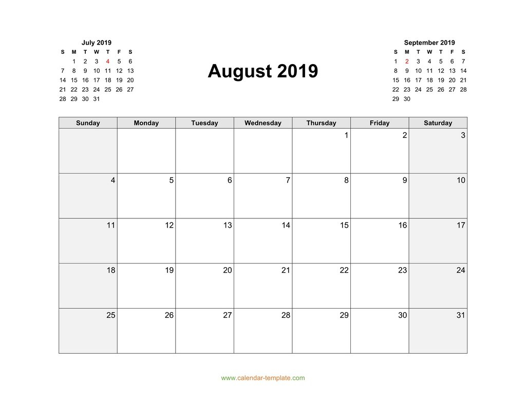 August 2019 Calendar Template in August Calendar Template With Notes