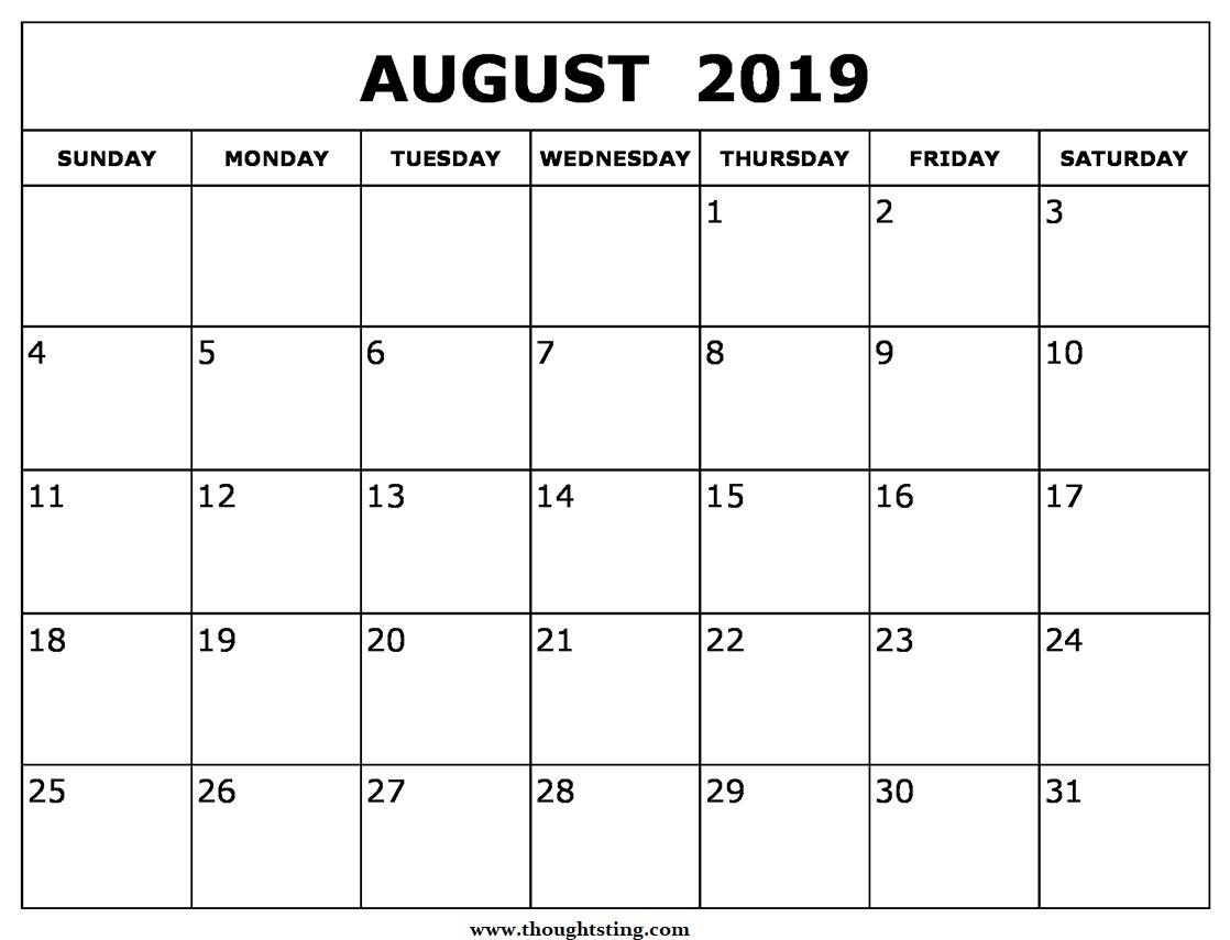 August 2019 Calendar Template Time Scheduler - Free Printable for August Calendar Template Excel