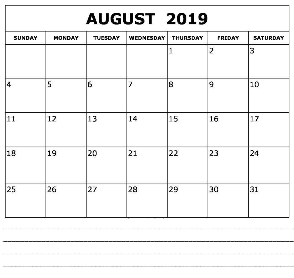 August 2019 Calendar Template Timetable Worksheet | Printable Calendar regarding Cute Calendar Template August