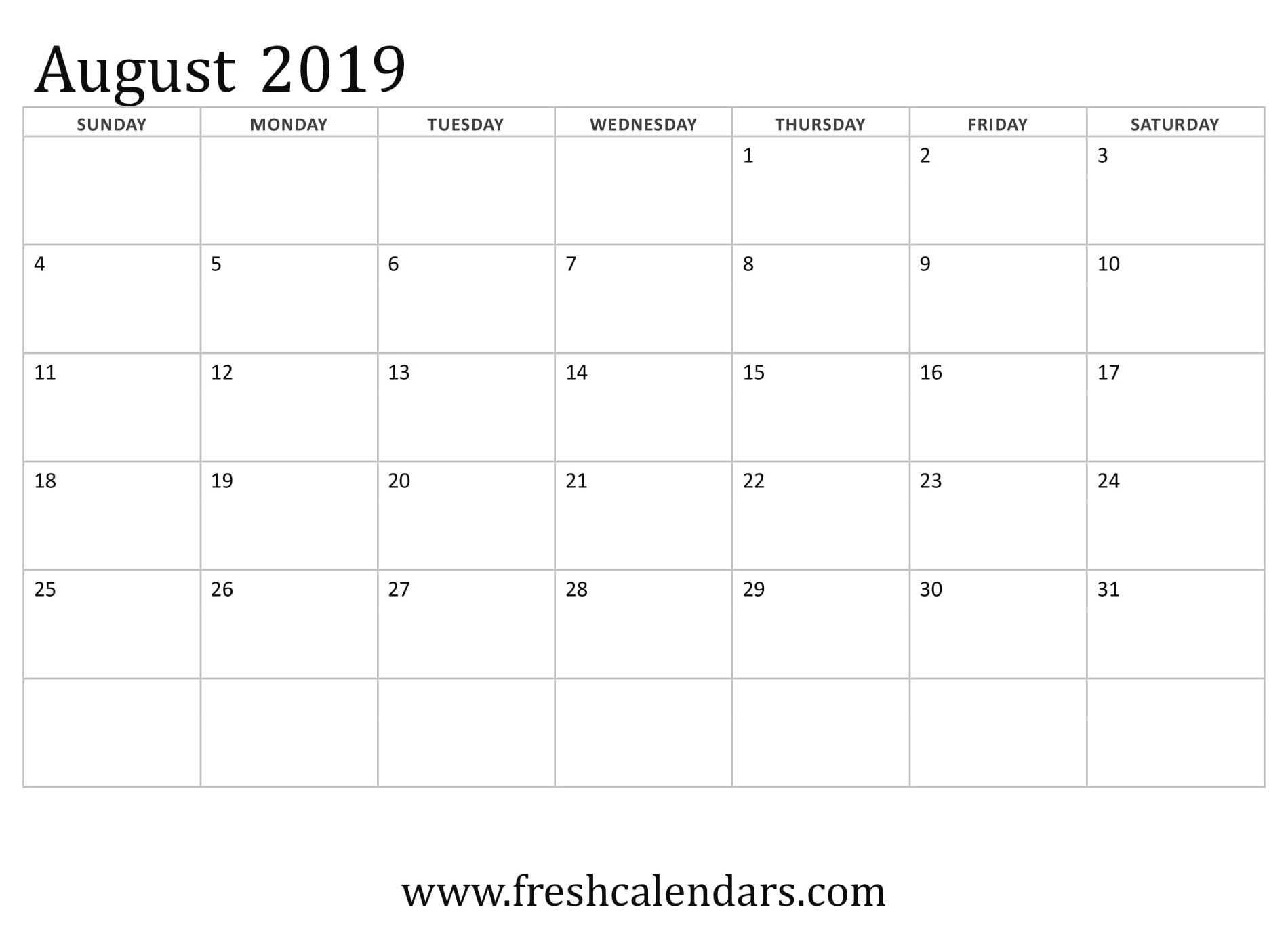 August 2019 Calendar Template To Type In | Calendar Format Example regarding August Calendar Template To Type In