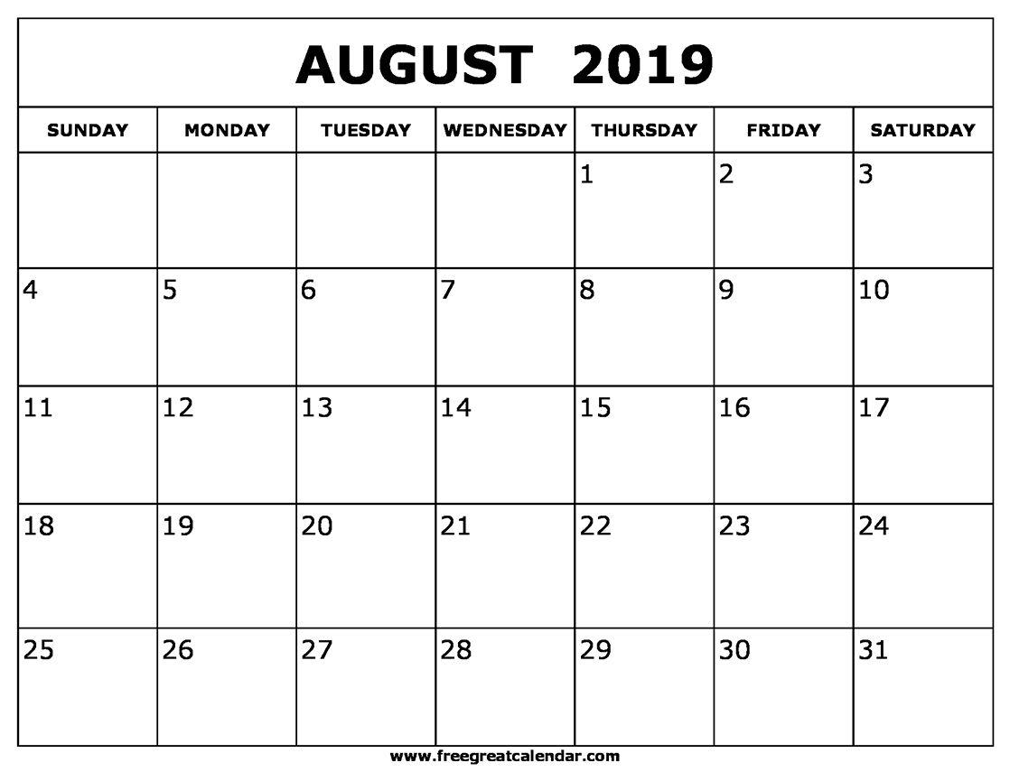 August 2019 Calendar Templates | August 2019 Calendar Printable inside Downloadable Calendar Templates August
