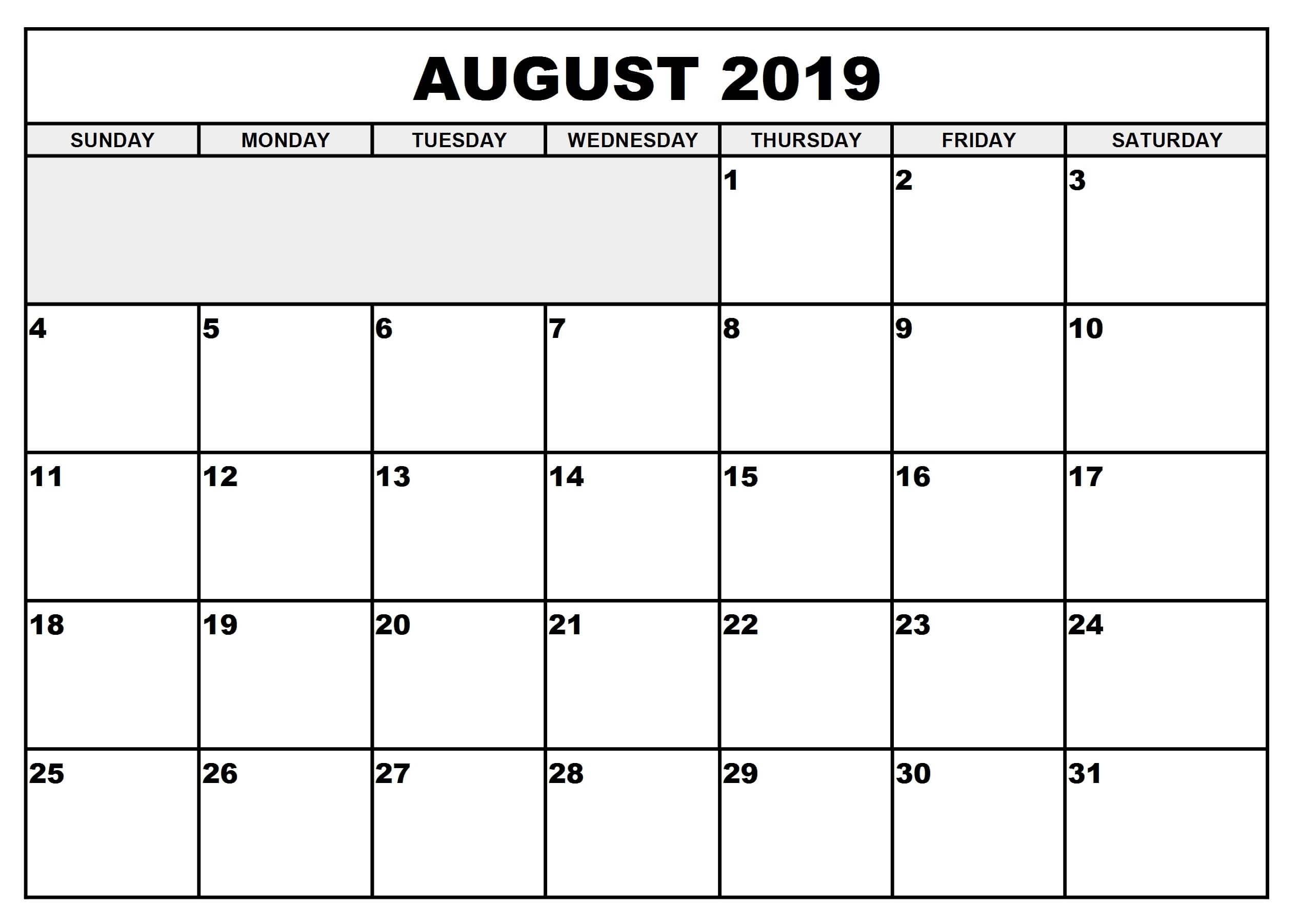 August 2019 Calendar With Holidays Malaysia - Printable Calendar with regard to Blank Calender August Printable
