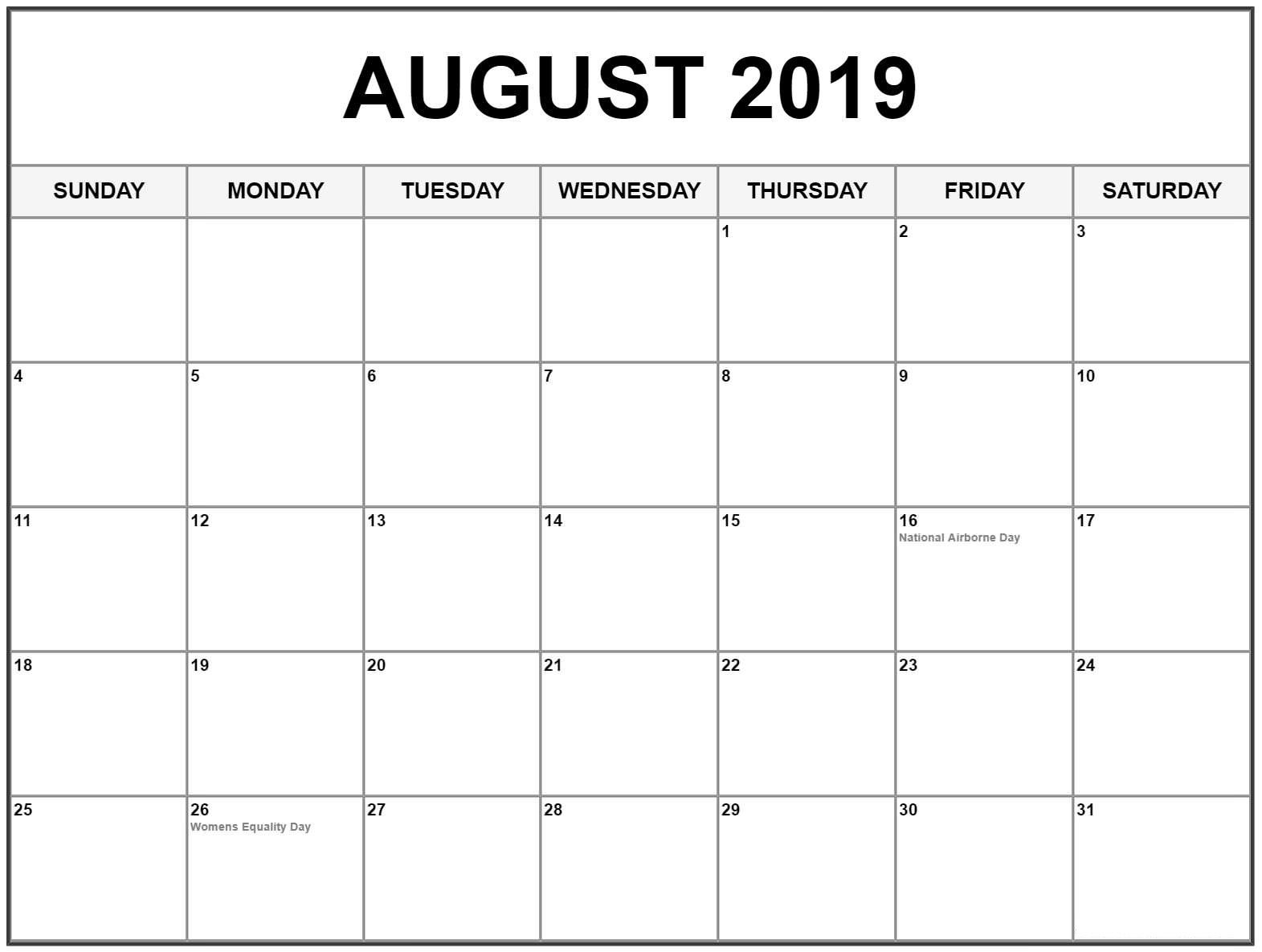 August 2019 Calendar With Holidays Usa, Canada | August 2019 intended for Blank Calender Of August