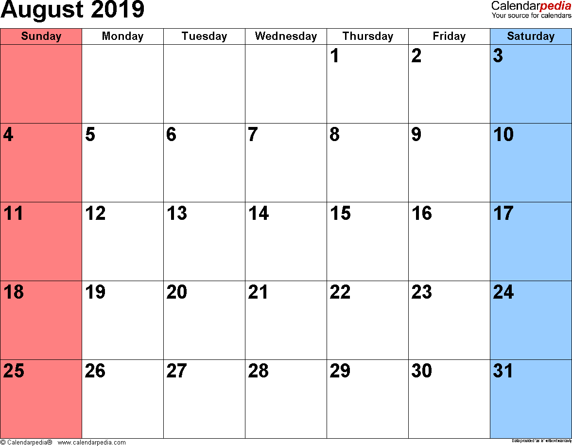 August 2019 Calendars For Word, Excel & Pdf inside August Calendar Template To Type In
