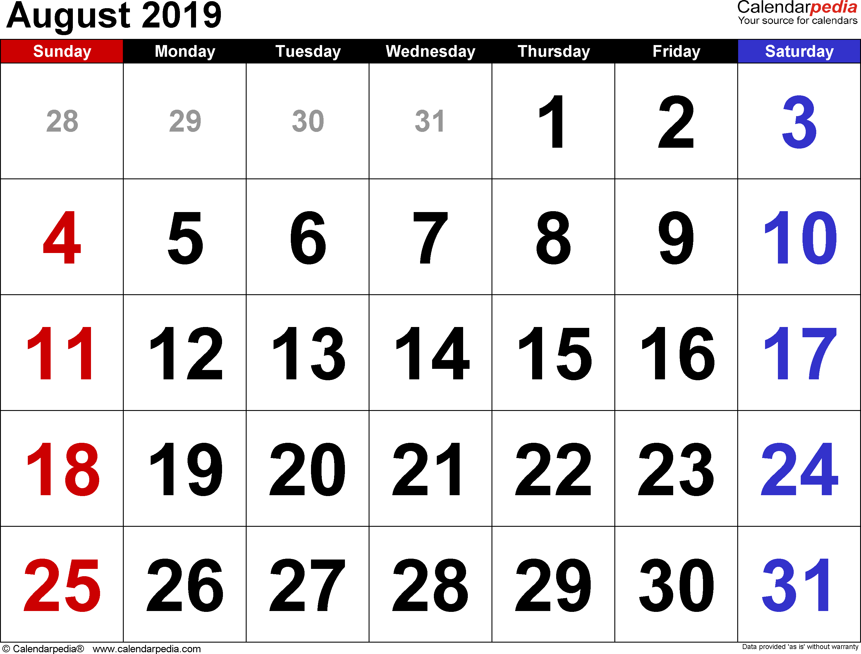 August 2019 Calendars For Word, Excel & Pdf regarding August Calendar Template Excel