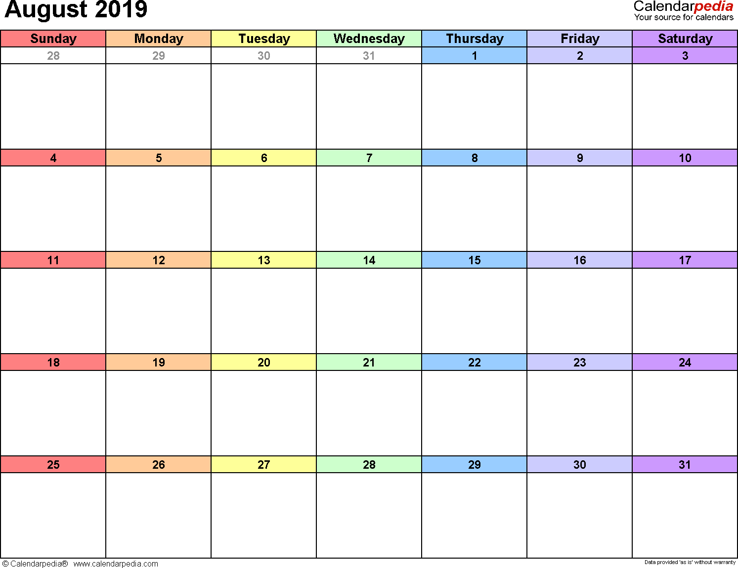 August 2019 Calendars For Word, Excel & Pdf within August Calendar Template With Notes