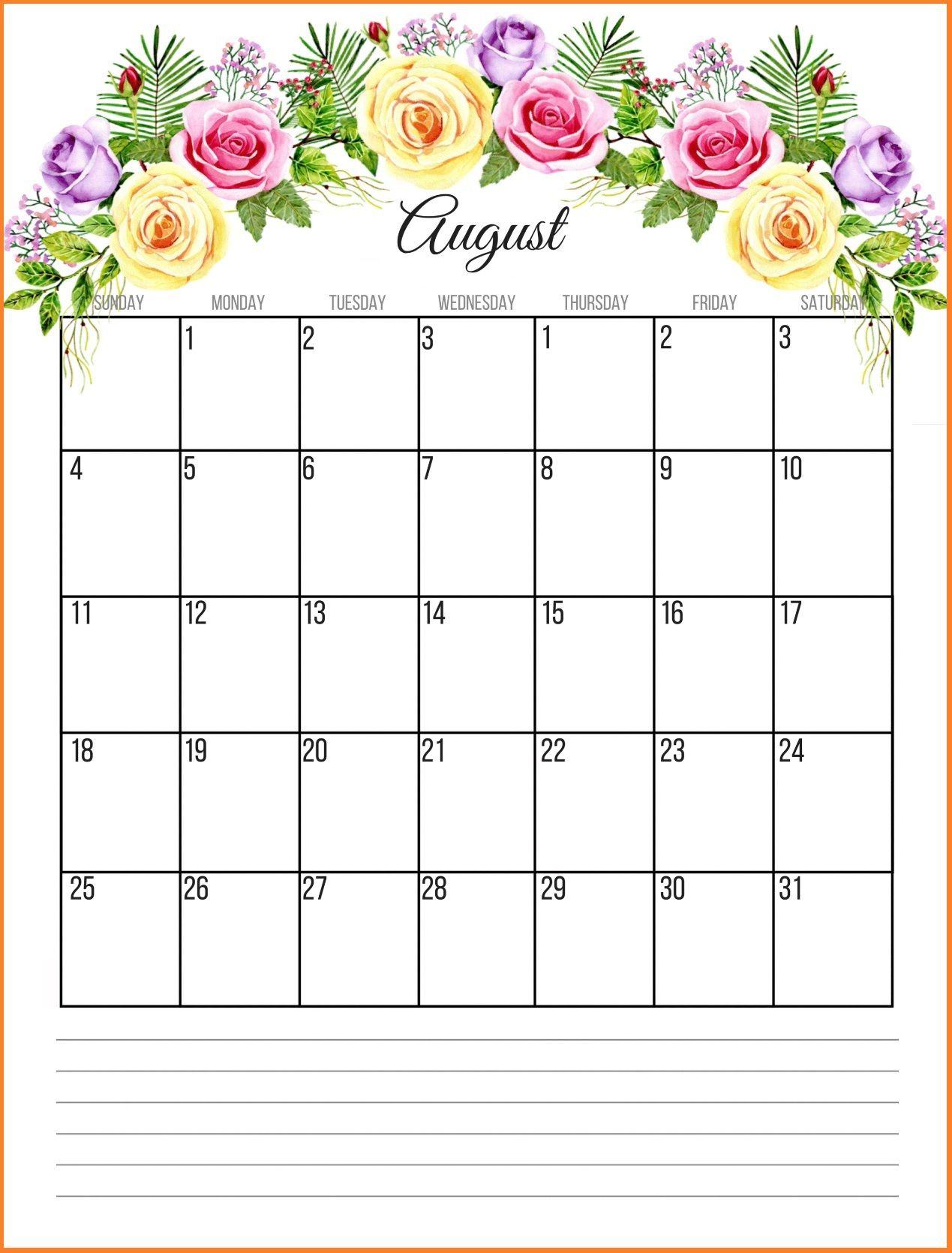 August 2019 Floral Calendar | Paper Crafts | Calendar June, June regarding Cute Calendar Template August