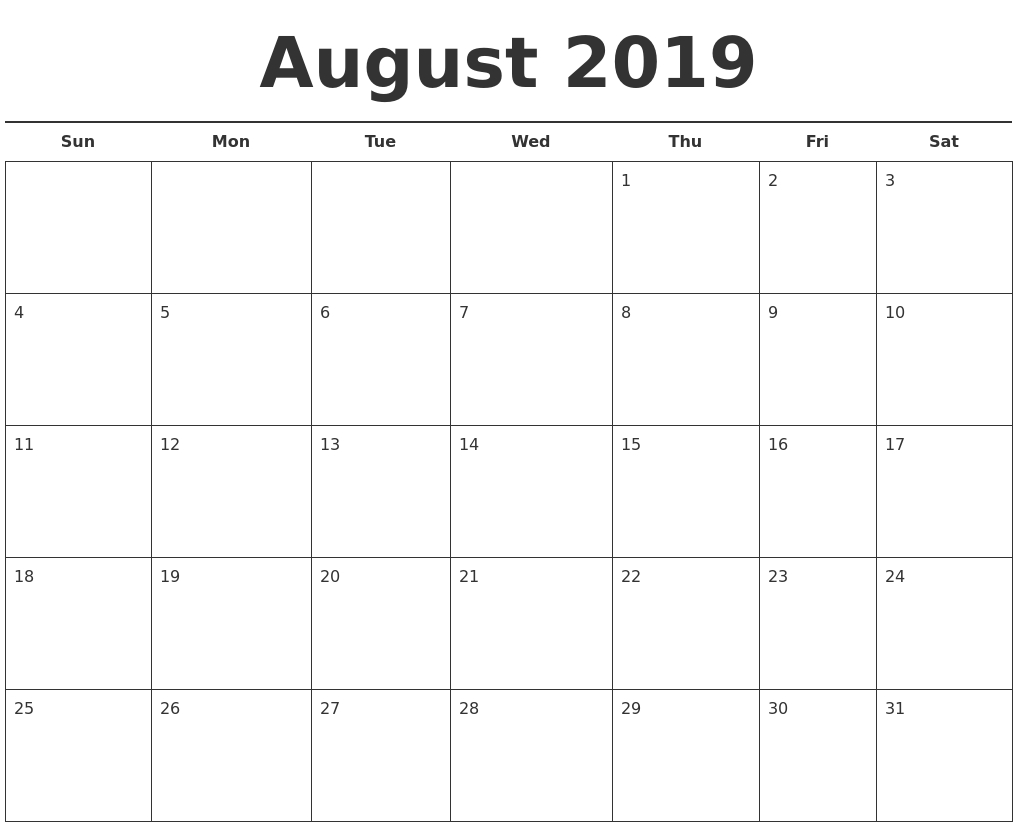 August 2019 Free Calendar Template intended for Calendar Template For August