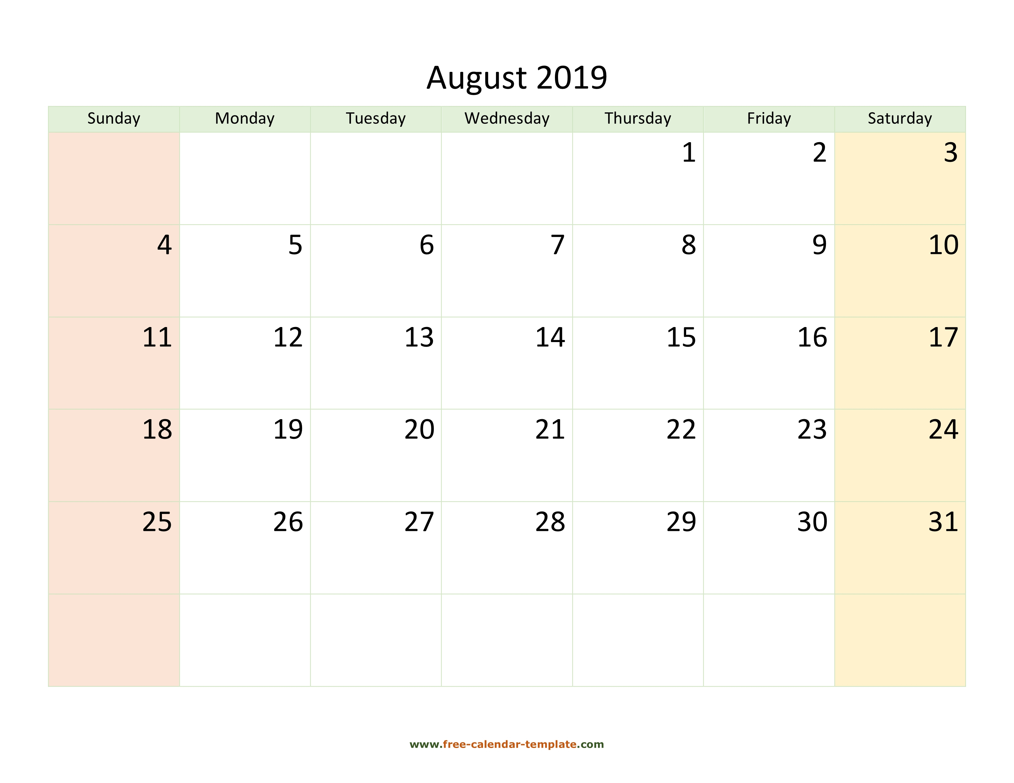 August 2019 Free Calendar Tempplate | Free-Calendar-Template pertaining to Blank August Colorful Calendar