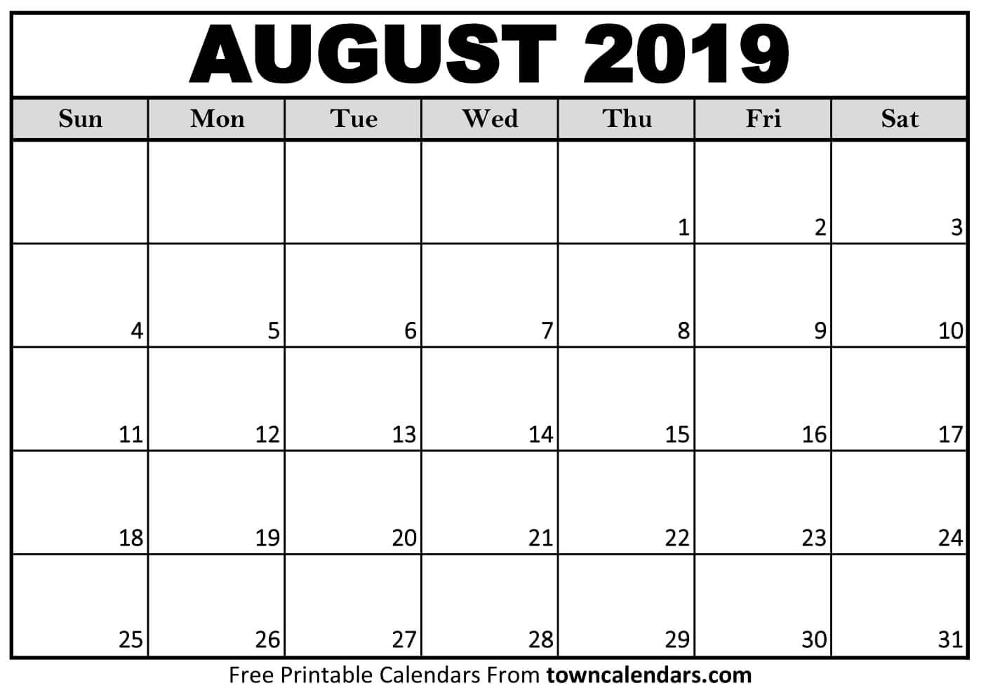 August 2019 Full Page Printable Calendar – Get Your Calendar Printable throughout Blank Calendar Of August Full Page
