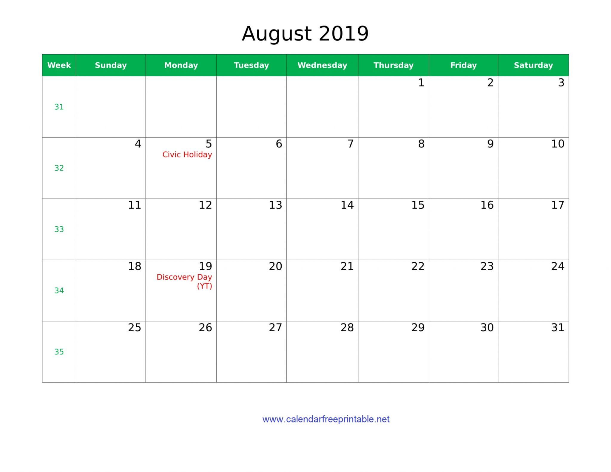 August 2019 Holidays Calendar - Free Printable Calendar, Templates with regard to August Calendar Template Printable