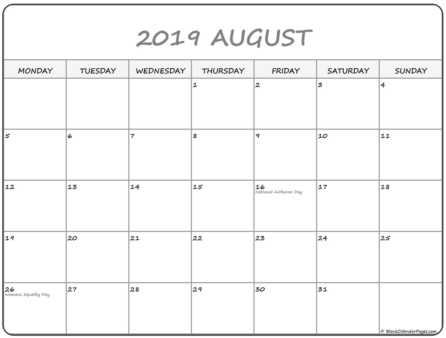 August 2019 Monday Calendar | Monday To Sunday throughout August Blank Calendar Monday Through Friday