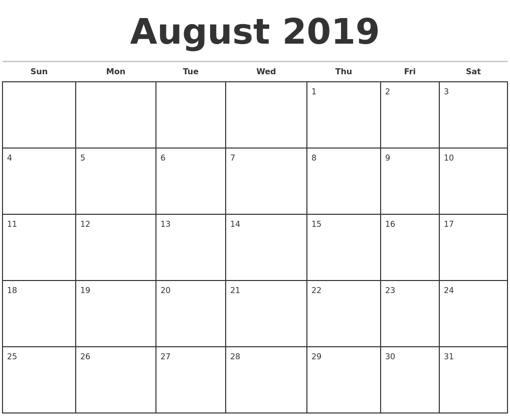 August 2019 Monthly Calendar Template with Printable Monthly Calendar Templates August