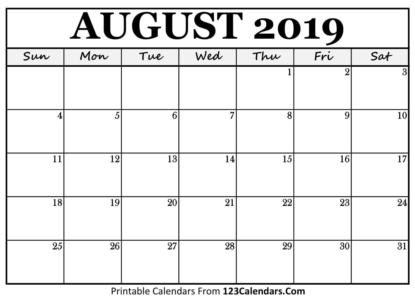 August 2019 Printable Calendar | 123Calendars inside Blank Printable Calendar August