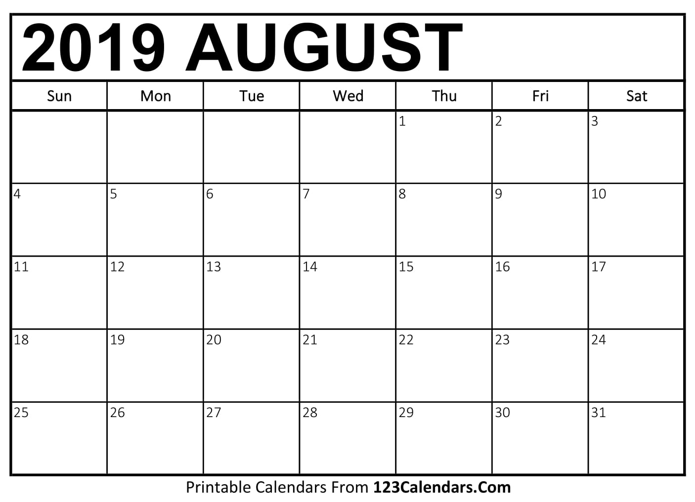 August 2019 Printable Calendar | 123Calendars regarding Blank Calendar To Write On August