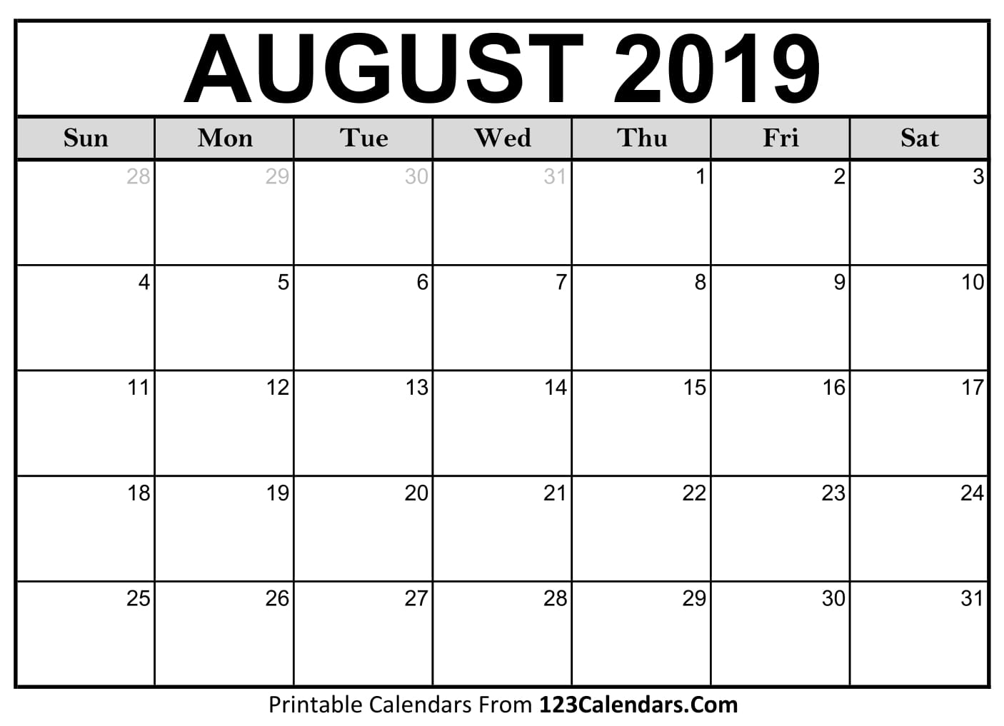 August 2019 Printable Calendar | 123Calendars with regard to Blank Calendars For August