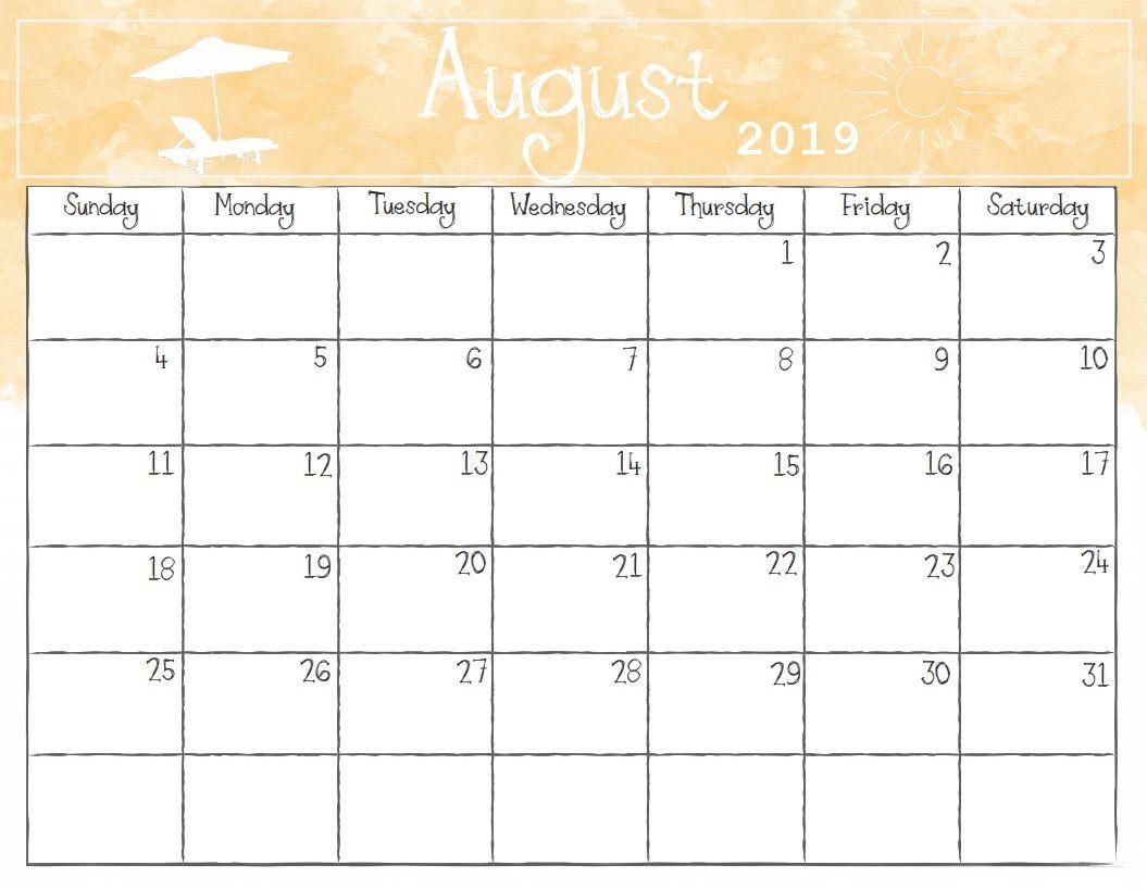 August 2019 Printable Calendar For Fancy Editable Template within Cute Calendar Template August