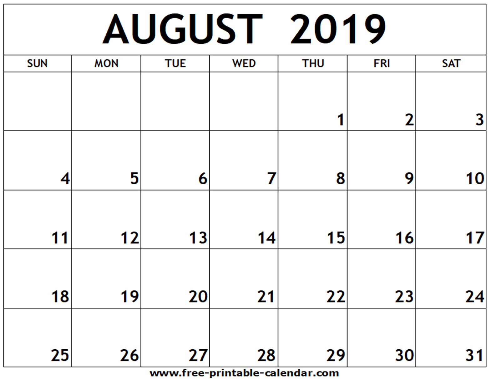August 2019 Printable Calendar - Free-Printable-Calendar intended for Blank Calendar Of August Full Page