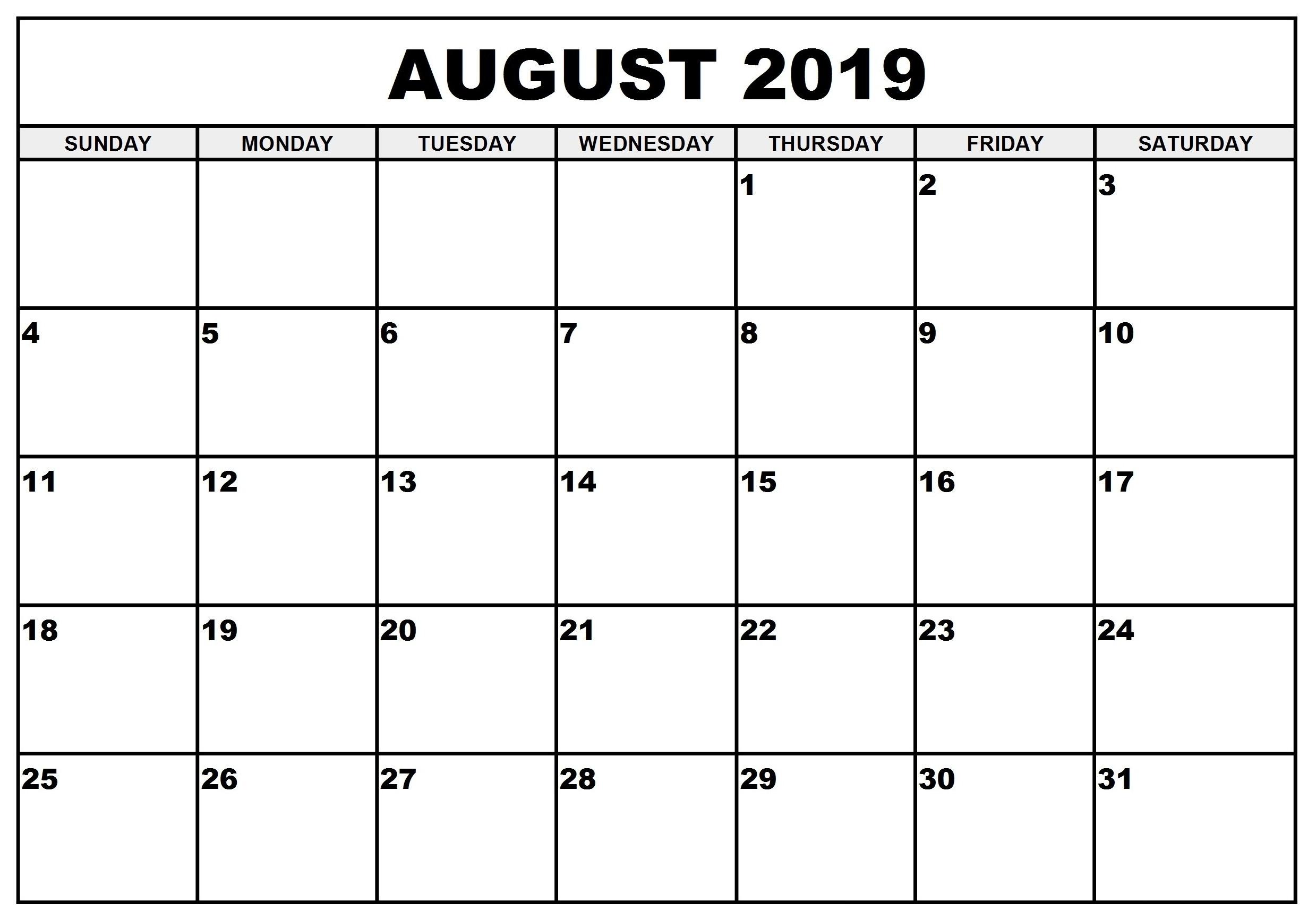August 2019 Printable Calendar | Free Printable Calendar Shop throughout August Blank Calendar Monday Through Friday