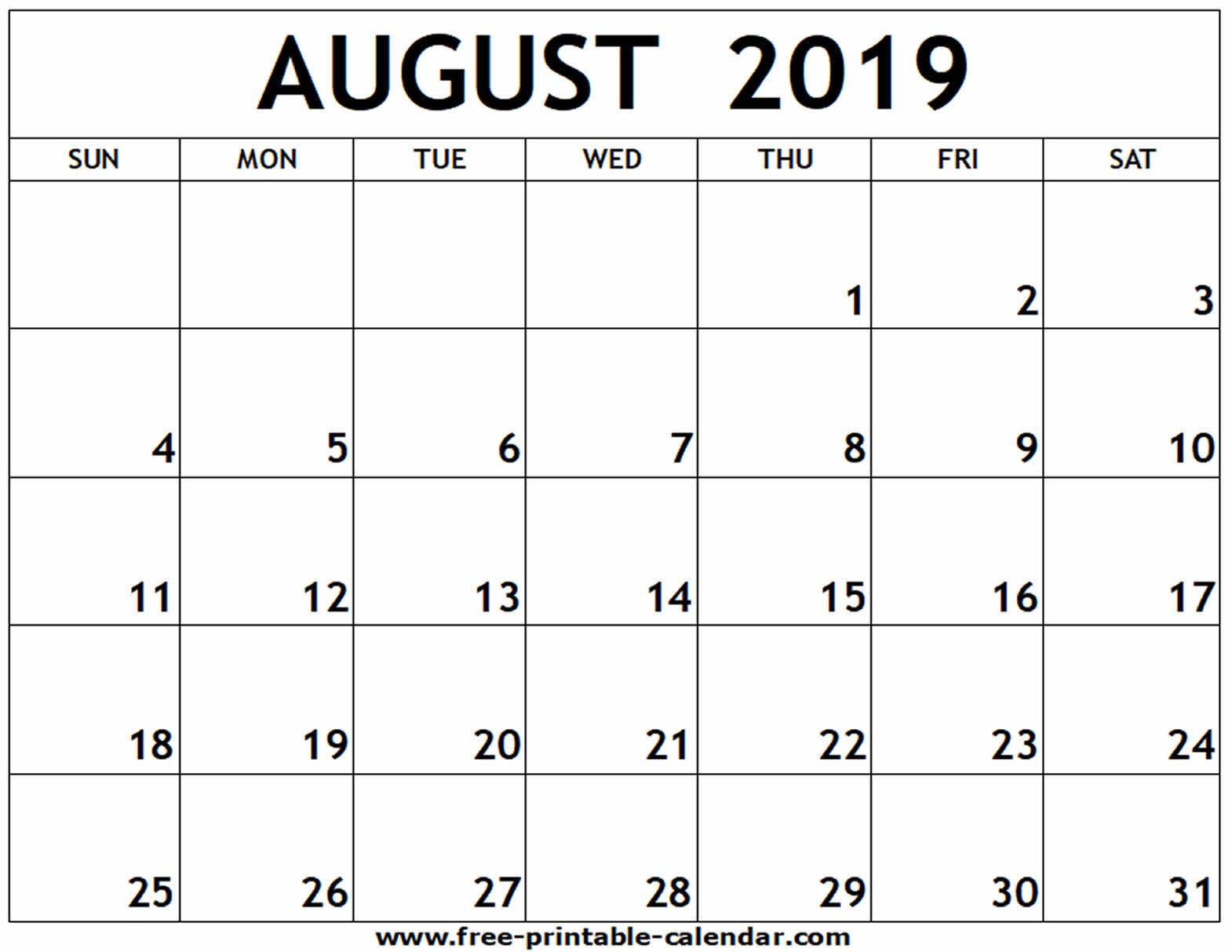 August 2019 Printable Calendar - Free-Printable-Calendar within Printable Blank Aug Calendar