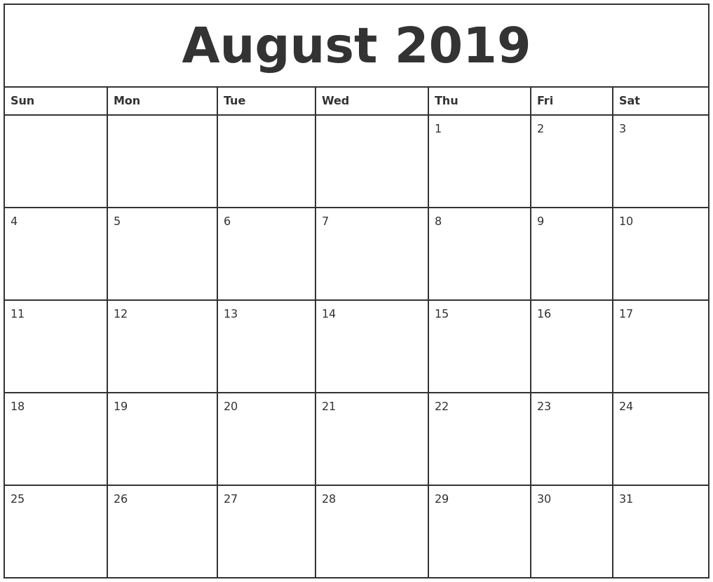 August 2019 Printable Monthly Calendar pertaining to Monthly August Calander Template