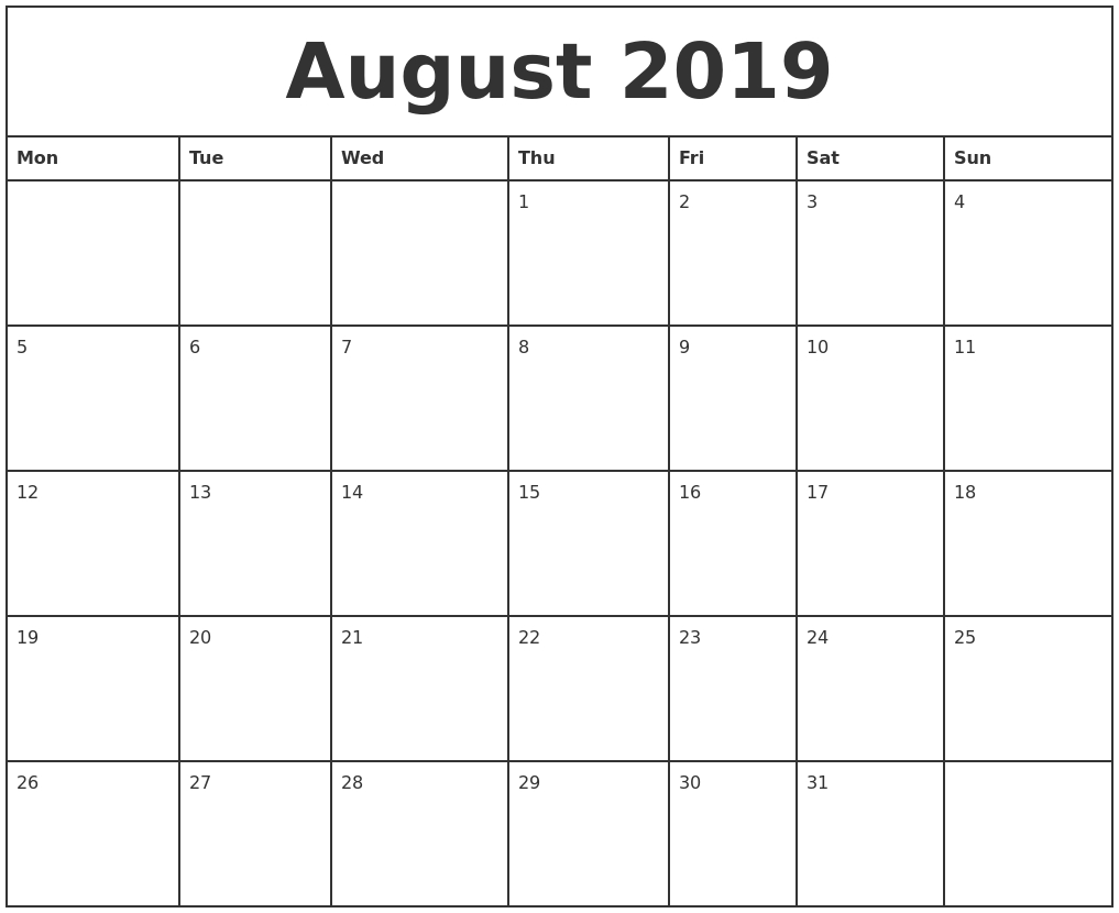 August 2019 Printable Monthly Calendar within Printable Monthly Calendar Templates August