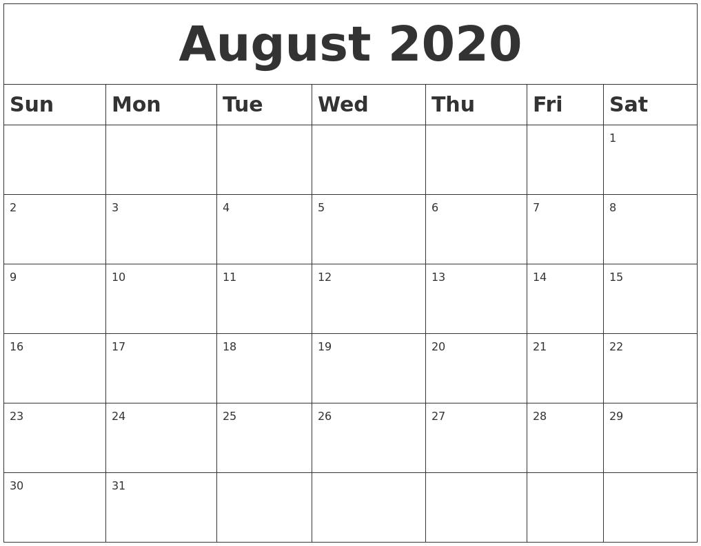 August 2020 Blank Calendar intended for Kid Freiendly August 2020 Calendars