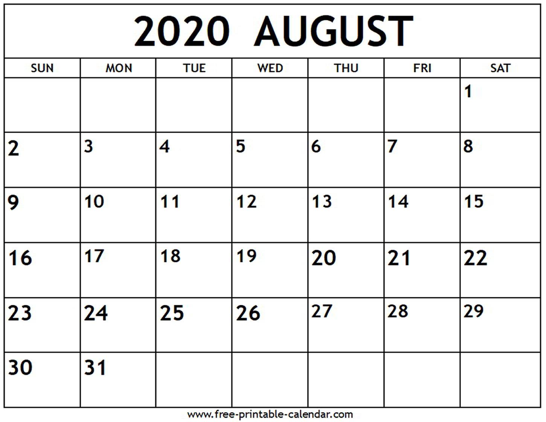 August 2020 Calendar - Free-Printable-Calendar with June July August 2020 Calendar