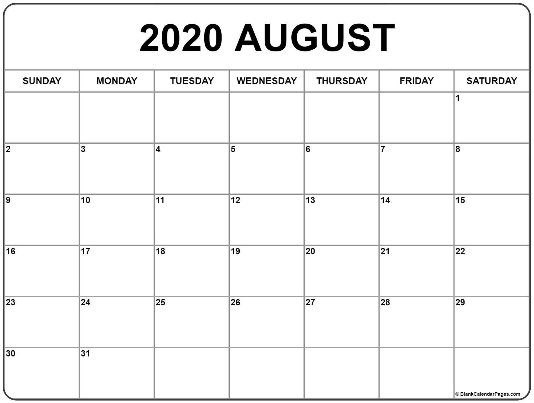 August 2020 Calendar | Free Printable Monthly Calendars inside June July August 2020 Calendar