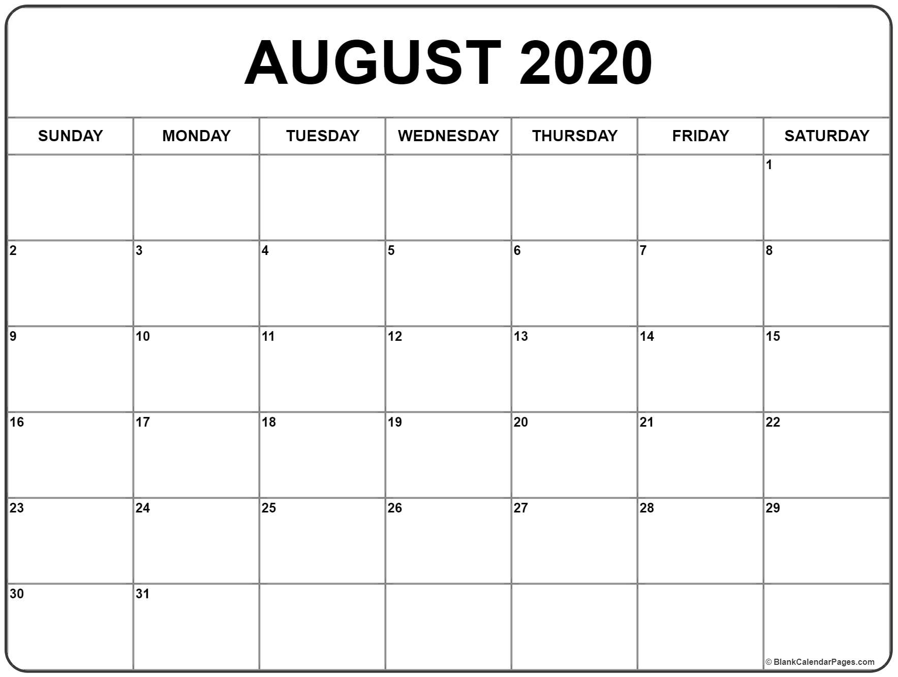 August 2020 Calendar | Free Printable Monthly Calendars with August Blank Calendar Pages