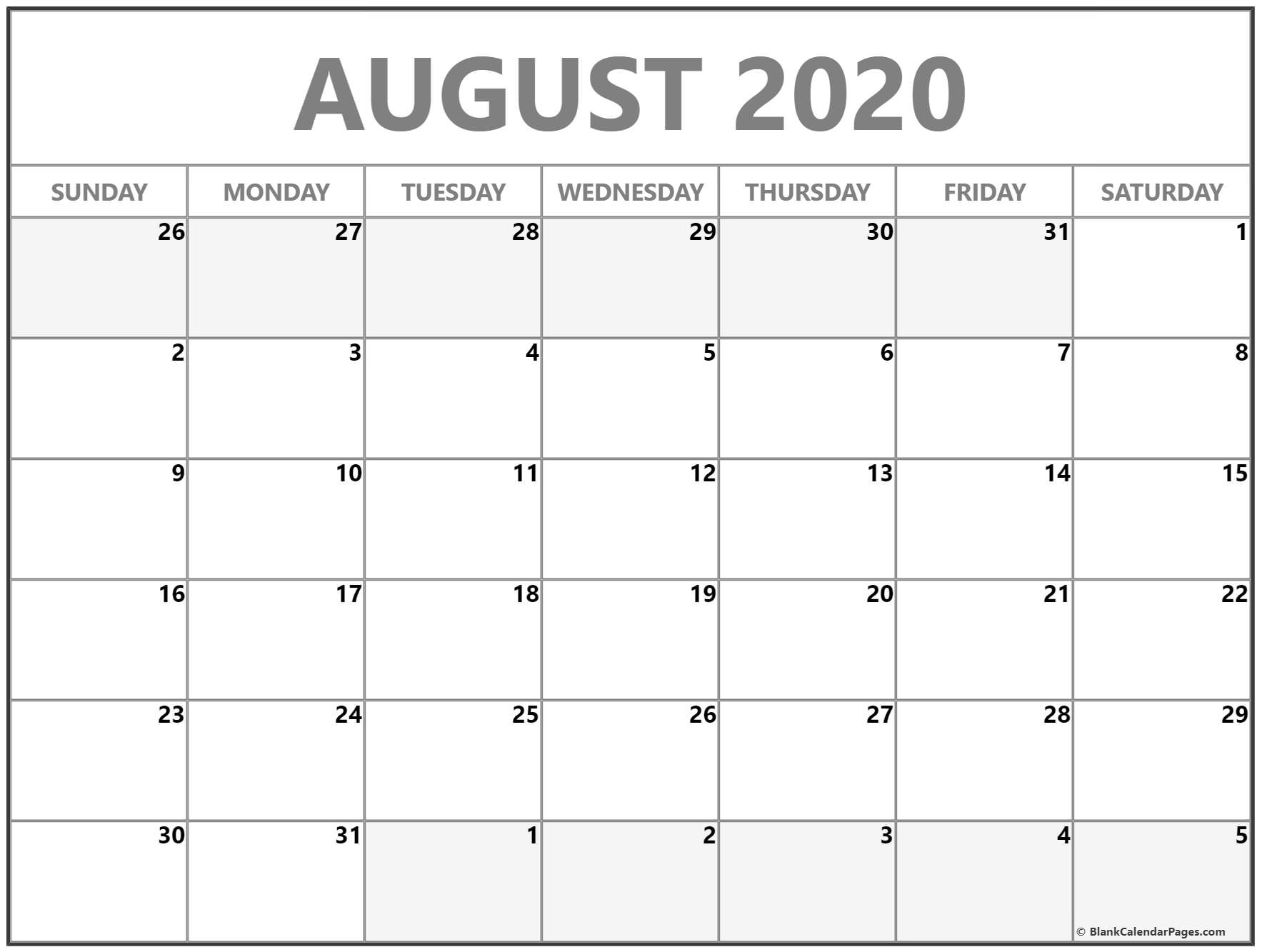 August 2020 Calendar | Free Printable Monthly Calendars with Blank Calendar Template For August