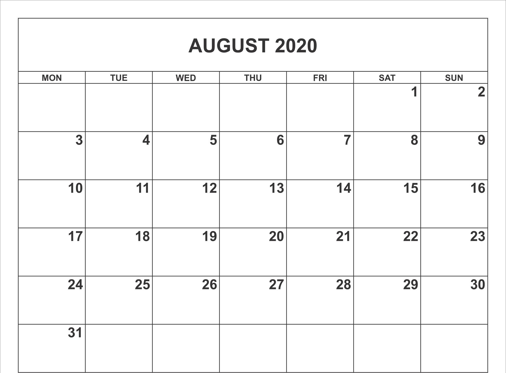 August 2020 Calendar Pdf, Word, Excel Template with Kid Freiendly August 2020 Calendars