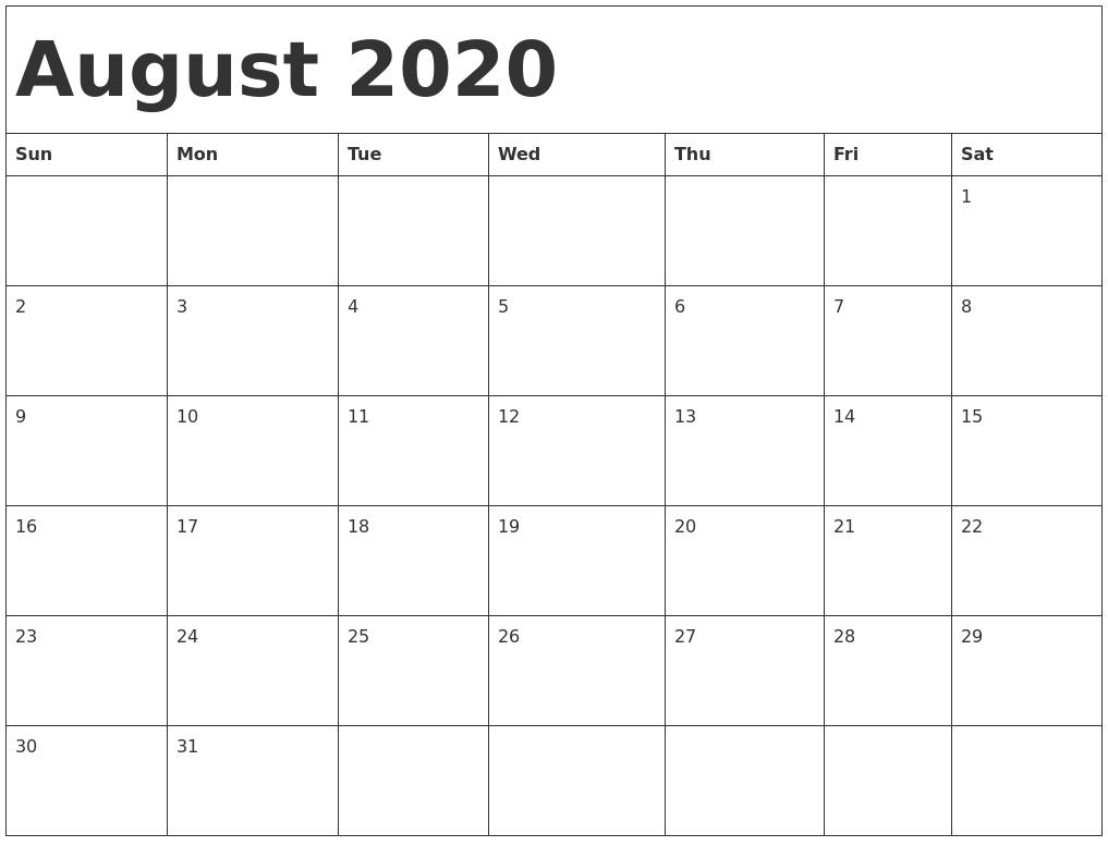 August 2020 Calendar Template within Kid Freiendly August 2020 Calendars