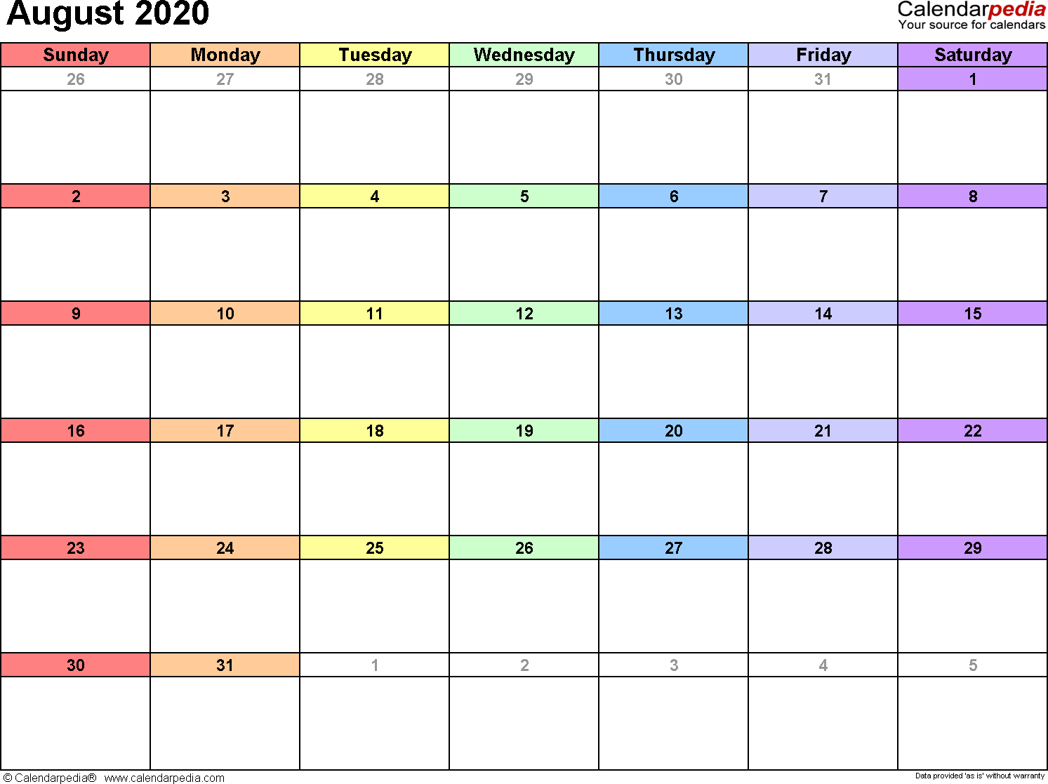 August 2020 Calendars For Word, Excel & Pdf pertaining to Kid Freiendly August 2020 Calendars
