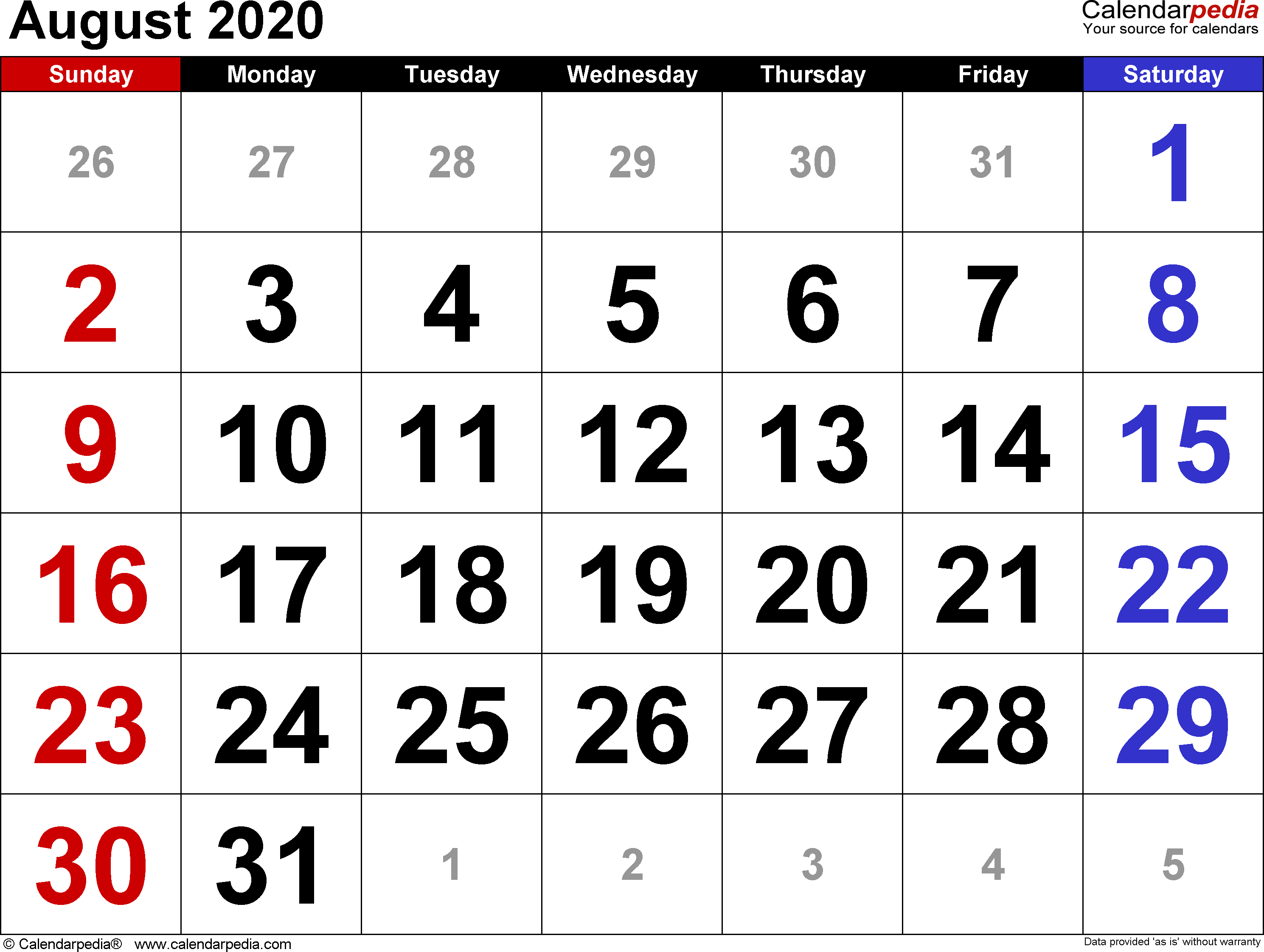 August 2020 Calendars For Word, Excel & Pdf with regard to June July August 2020 Calendar