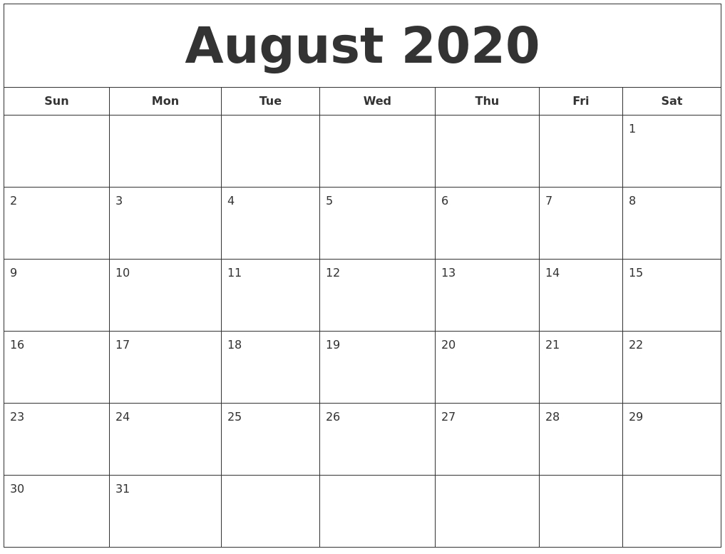 August 2020 Printable Calendar with regard to 2020Printable Monday Through Sunday Calendars