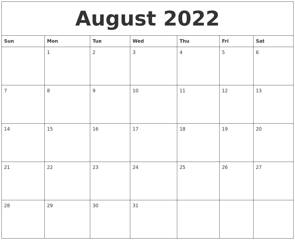 August 2022 Printable December Calendar pertaining to August-December Calendar Template