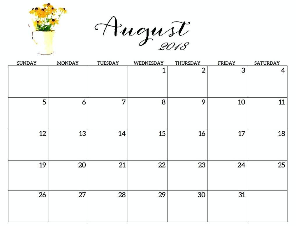 August Calendar 2018 Excel throughout August Calendar Template Excel