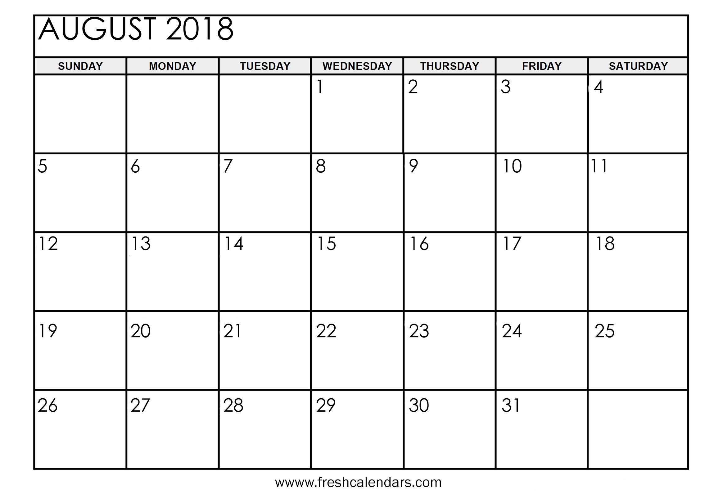 August Calendar 2018 - Free Printable Calendar, Blank Template, High with Aug Calendar Clip Art Template