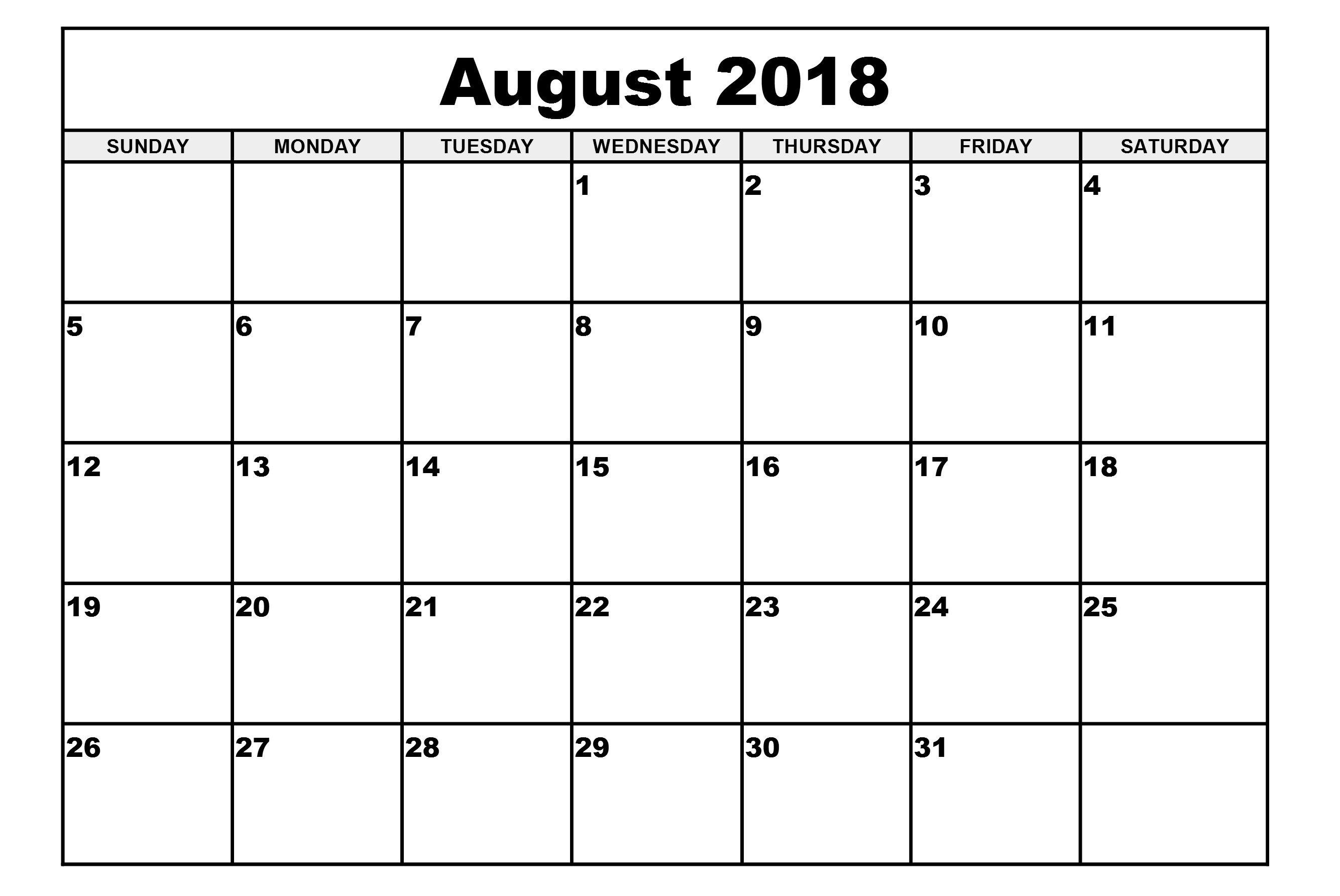 August Calendar 2018 Printable Simple Blank Template   August regarding Blank Calendar August Template Australia