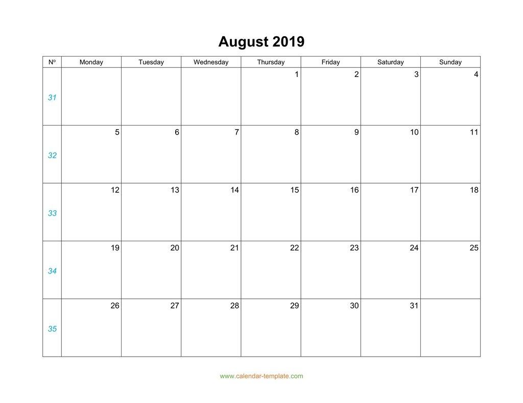 August Calendar 2019 Blank Template throughout August Blank Calendar Monday Through Friday