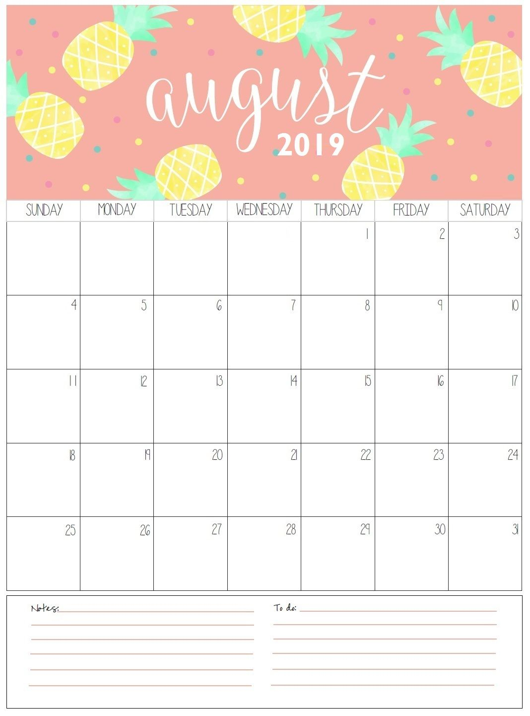 August Monthly Calendar 2019 | Organization | August Calendar, Free pertaining to Cute Blank Calendar Page Template