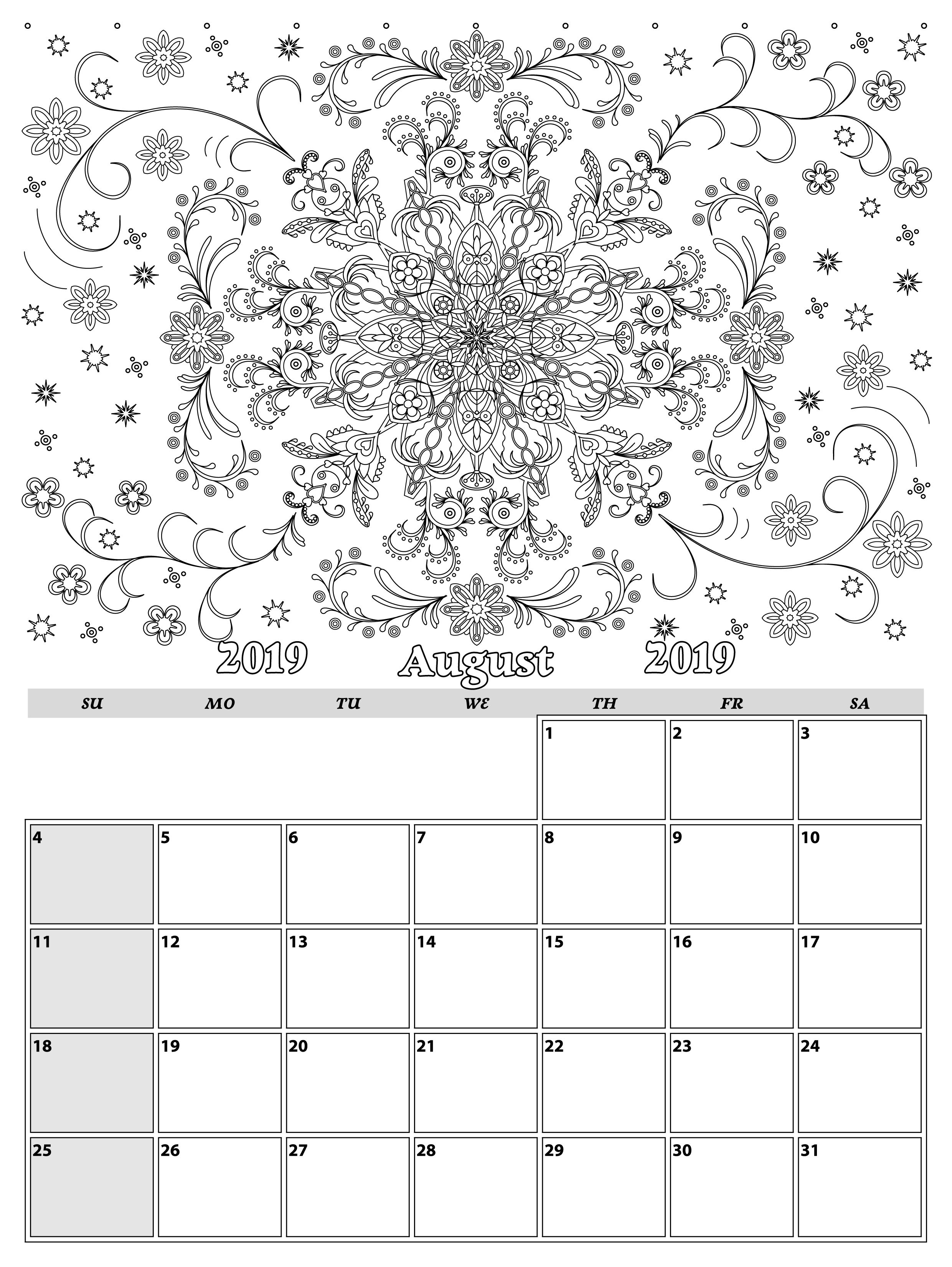 August. Monthly Planner 2019 In Doodle Style For Relax And Plan throughout Doodle Monthly Planner Printer Templates