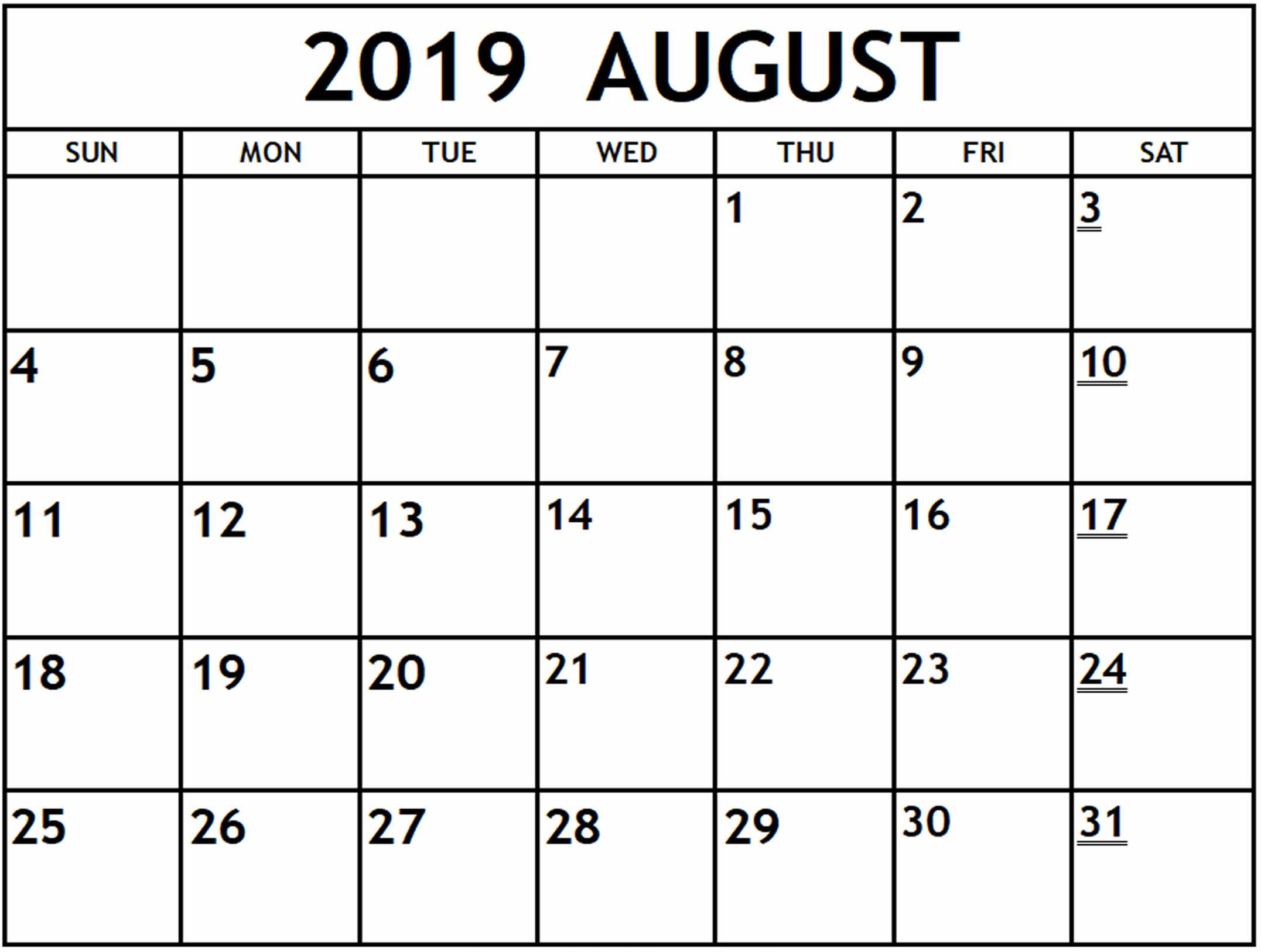 August Printable Calendar Template For 2019 – Magic Calendar 2019 for August Printable Calendar Weekly Template