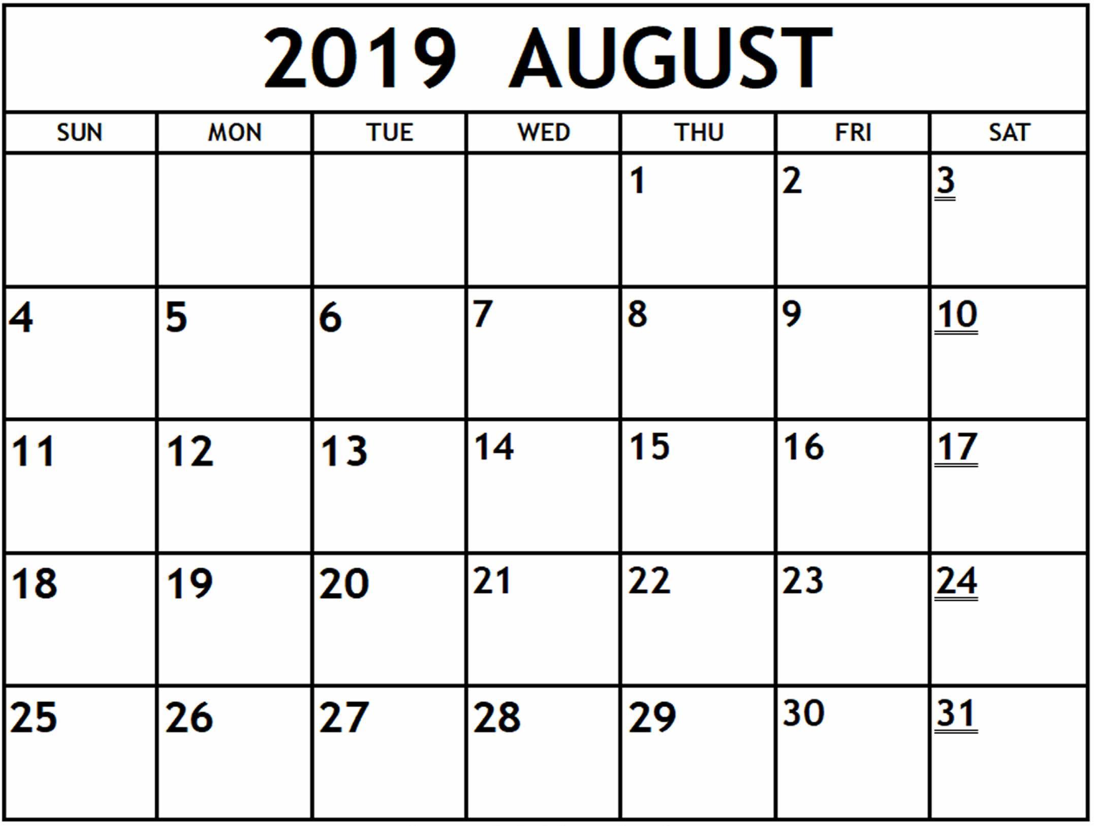 August Printable Calendar Template For 2019 – Magic Calendar 2019 intended for August Calendar Template Printable