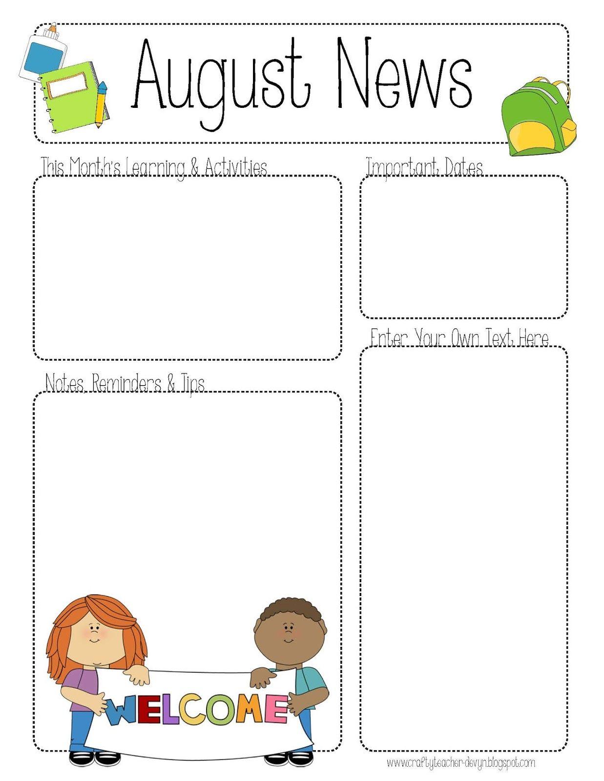 August Printable Newsletter For All Grades!! | Class Stuff regarding August Calendar Template For Pre K