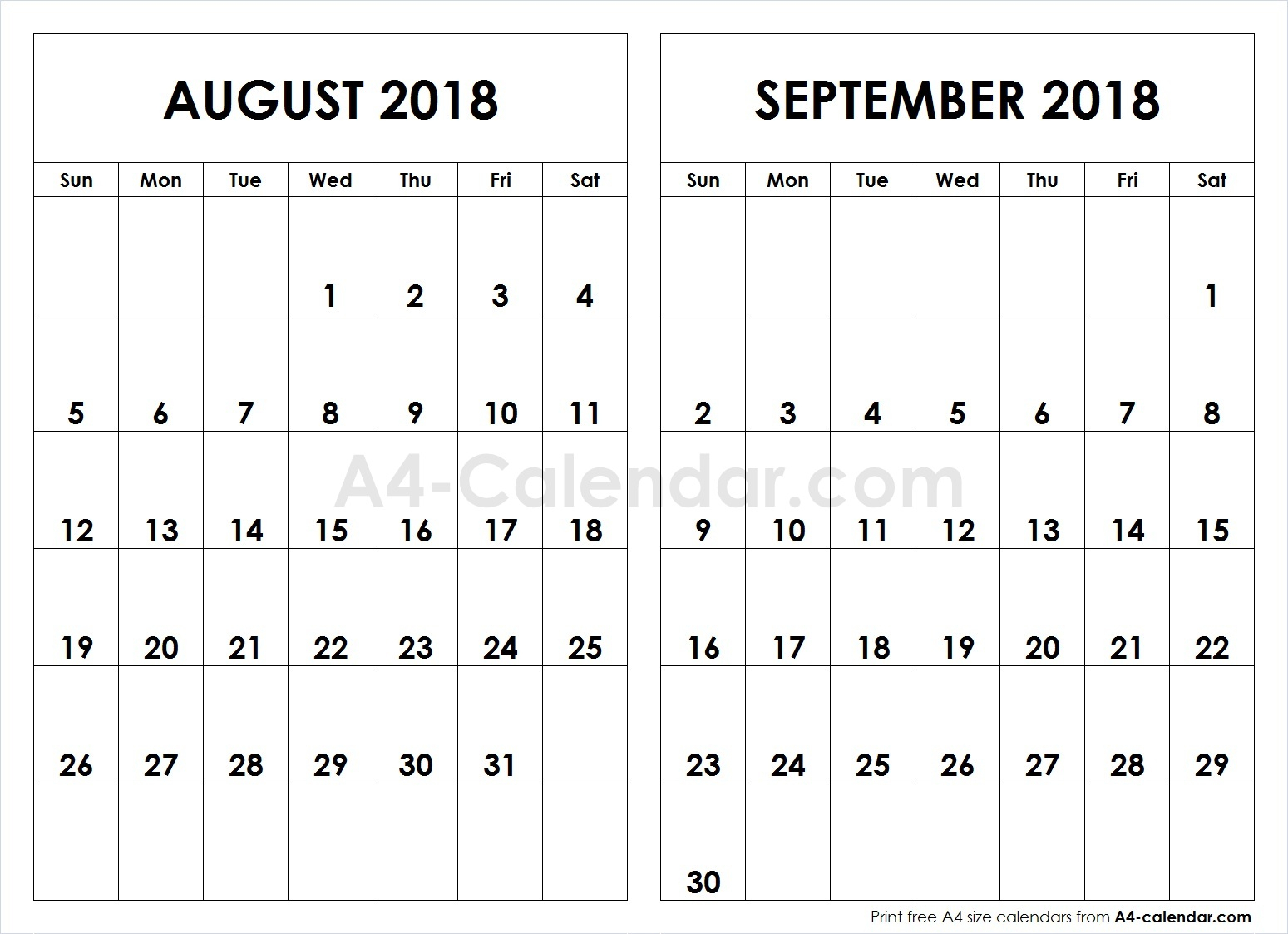 August September 2018 A4 Calendar | 2 Month Calendar Template for Blank August And September Calendar